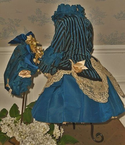 Elegant French Two piece Bebe Silk Costume with Bonnet