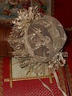 Beautiful Small Antique Lace Bonnet with Crown Bouquet