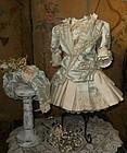 Elegant French Silk Costume with High Brim Straw Bonnet