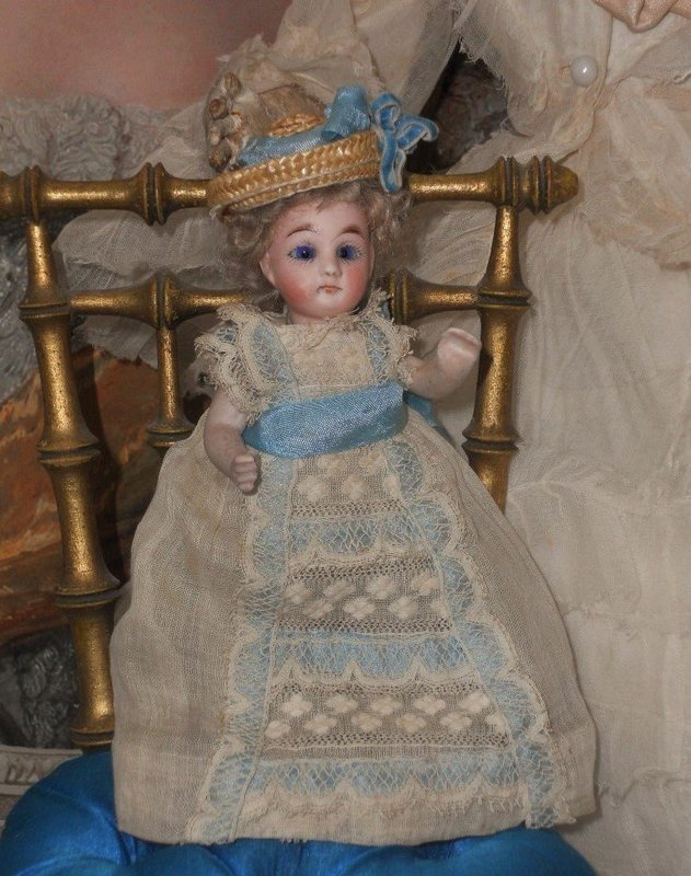 Cute French all Bisque Mignonette in Original Gown