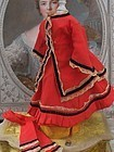 Beautiful Antique Red 3 Piece Linsey-Woolsey Lady Gown
