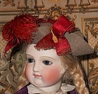 Beautiful Antique French Tricorn Poupee Pressed Hat