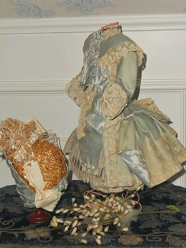 ~~~ Luxury French Bebe Costume with Straw Bonnet ~~~