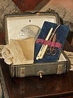 Rare Small French Leather Traveling Sewing Necessaire with Contents
