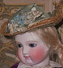 Pretty Poupee Straw Bonnet for Rohmer , Huret or other early Poupee
