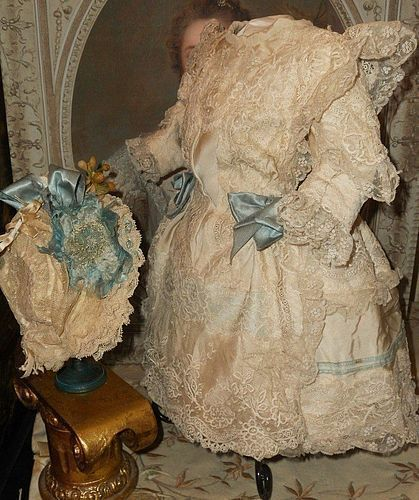 Most Beautiful French Bebe Silk Costume with Bonnet
