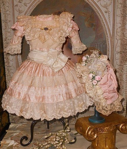 Pretty French Pink Silk and Lace Costume with Bonnet