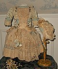 Pretty French Bebe Silk and Muslin Costume with Bonnet