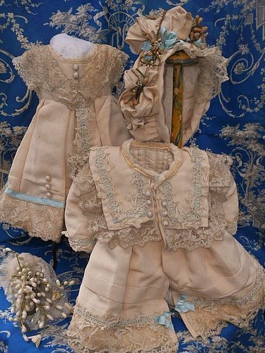 Especially Beautiful 3 Piece French Bebe Silk Outfit size 10 Jumeau