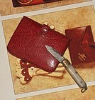 Lovely Antique French Poupee Leather Purse with Tiny Pocket Knife