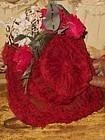 Beautiful Antique French Jumeau Red Chiffon Silk Wire Bonnet