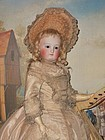Superb early Elegant Grand French Bisque Poupee with Gorgeous Costume