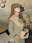 ~~~ Elegant French Poupee with original Antique Winter Costume ~~~