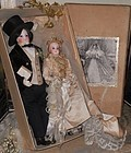 Exceptional All Original French Bisque Poupee Wedding Pair in Box