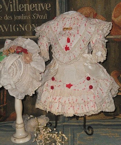 Superb French Muslin Costume with Bonnet