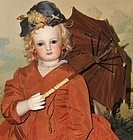 ~~~ Chocolate Brown Silk Poupee Parasol ~~~