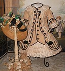 Marvelous French Bebe Costume with Straw Bonnet
