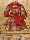 Beautiful Antique Woven Wool Plaid Small Bebe Dress / 1890