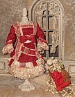 Superb French Small Bebe Silk Costume with Bonnet