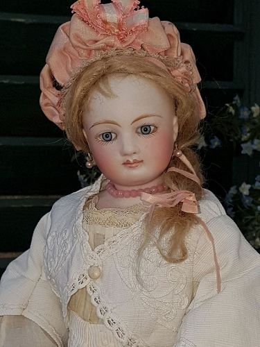 ~~~ Marvelous French Bisque Poupee with Superb Gown ~~~