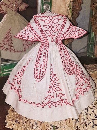~~~ Gorgeous French Antique Poupee Gown with Soutache Trim / 1860 ~~~