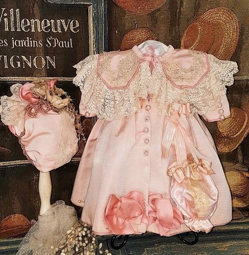 ~~~ Graceful French Bebe Pink Silk Coat Dress with Bonnet ~~~