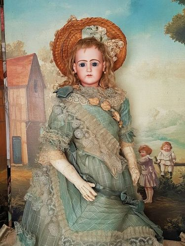 ~~~ Rare Large French Portrait Poupee by Jumeau in Gorgeous Gown ~~~