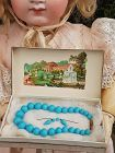 French Factory original Blue Bebe Bead Necklace and Earrings in Box