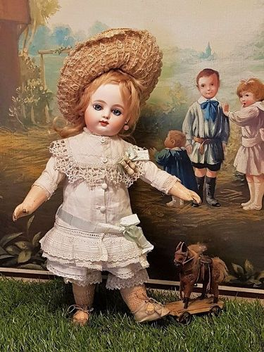 ~~~ Lovely French Bisque Bebe by Gaultier in Superb Antique Costume ~~