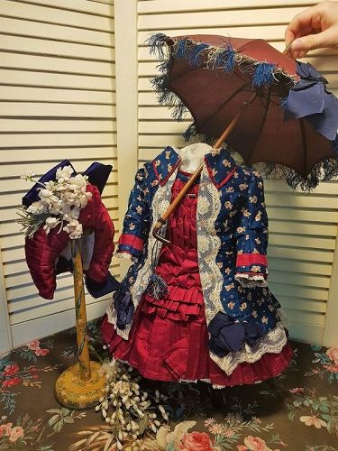 Outstanding Three Piece French Bebe Costume with Bonnet & Parasol