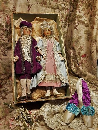 Exceptional Rare Antique French Pair of Wax Dolls all Original