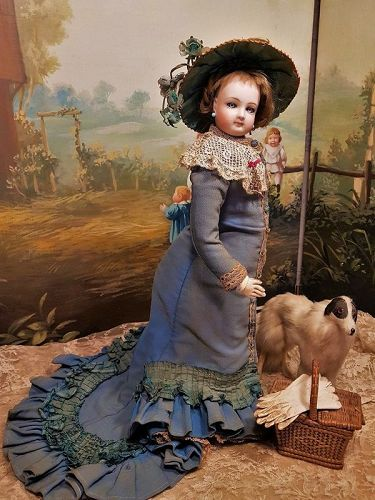 Beautiful French Poupee By Jumeau with Gorgeous Antique Costume