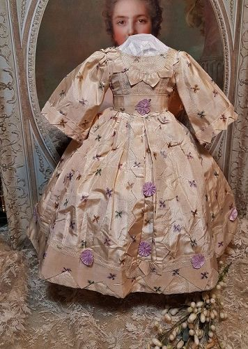 Lovely Enfantin Silk Poupee Dress for Huret , Rohmer , Barrois .....