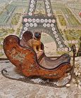 ~~~Rare French Miniature Sleigh with Romantic Painted Scenes as is~~~