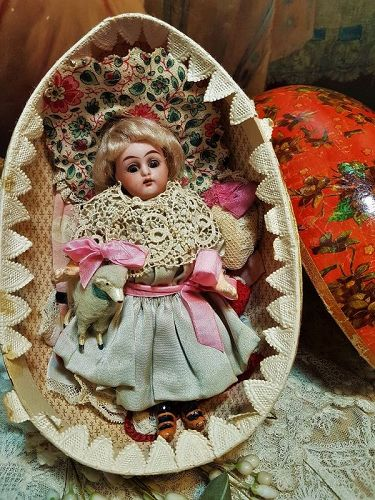 ~~Pretty 19th. Century Easter Presentation Bisque Doll + Trousseau ~~