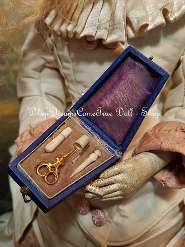 Very rare French Miniature Poupee Leather Sewing Necessaire / 1865