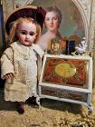 ~~~ Rare French Doll Secretaire with Enamel Painted Romantic Scenes ~~