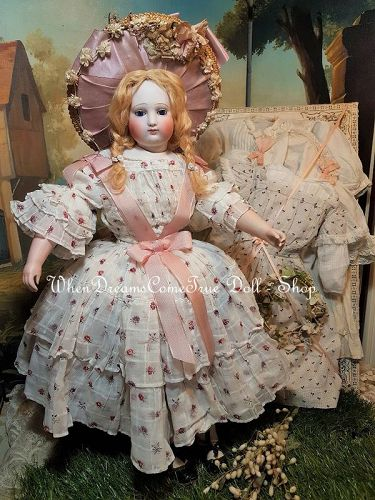 Stunning Mode Enfantine Genre Bisque Poupee with Extra Clothing / 1868