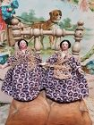 Little Grodnertal Wooden Twins with fine Original Costume