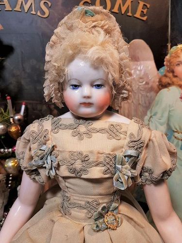 Very Fine Adelaide Huret French Porcelain Poupee with Pretty Costume