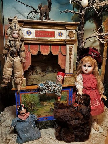 Beautiful Antique small French Guignol Doll Size Puppet Theater
