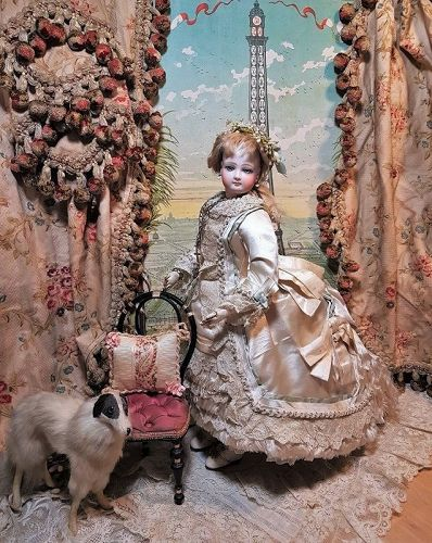 Stunning French Jumeau Poupee Fabulous Costumed & Elaborate Coiffure