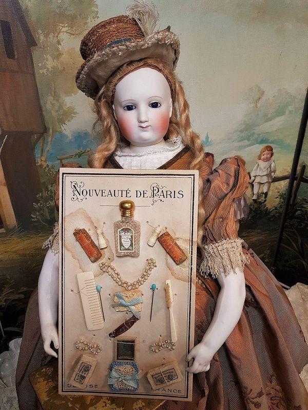 Rare Original Authentic Presentation Card with Doll Accessories / 1885