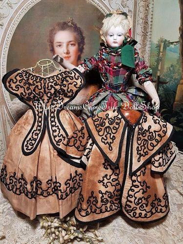Rare Brown Pique Weave & Soutache Trim Poupee Gown from Huret Era