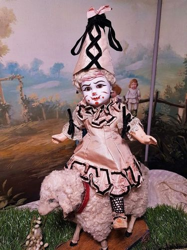 Outstanding Rare French Bisque Bebe Nicolas Steiner Clown
