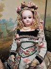 Dreamy E .J Portrait French Bisque Poupee in Gorgeous Silk Costume