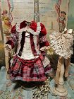 ~~~ Superb French Plaid Bebe Costume with Lace Bonnet ~~~