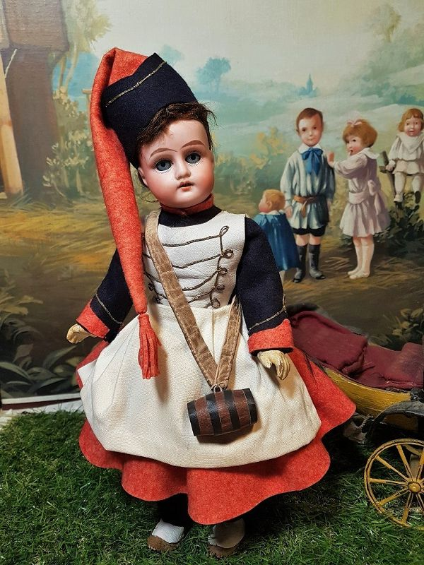 ~~~ Lovely 19th. Century French Bisque Doll in Factory Clothing ~~~