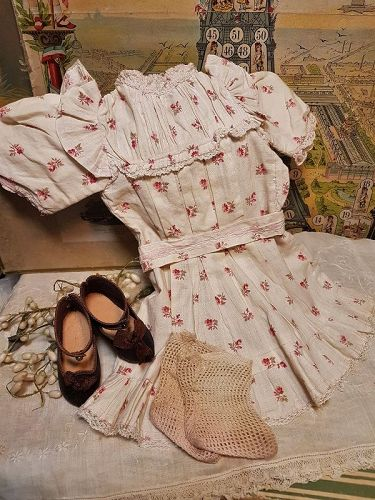 Factory Original Maison Jumeau size 9 Bebe Chemise & Shoes & Stocking