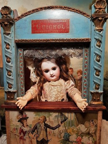 ~~~ Pretty Antique French Guignol Small Doll Size Puppet Theater ~~~